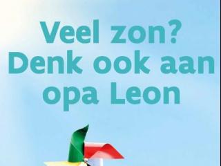 Affiche veel zon denk ook aan opa Leon